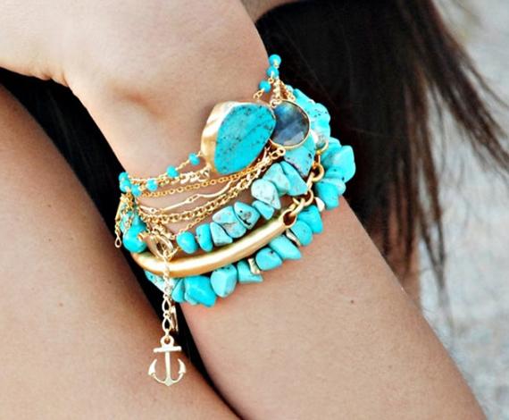 Turquoise-Gold-Chunky-Bracelet