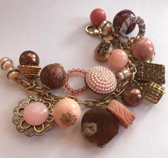 Vintage-Pink-Bauble-Charm-Chunky-Bracelet