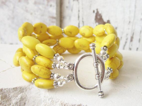 Yellow-Turquoise-Chunky-Bracelet