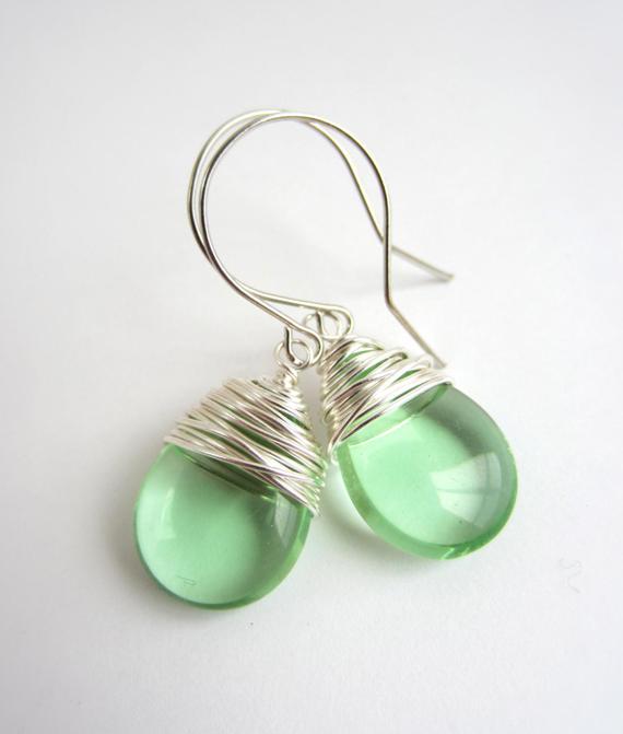 Large-Ear-Wire-Wrapped-Peridot-Beaded-Earrings