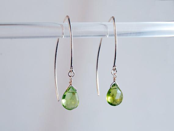 Peridot-Briolette-Hook-Tip-Earrings