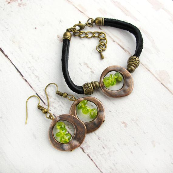 Peridot-Copper-and-Cord-Birthstone-Jewelry-Set