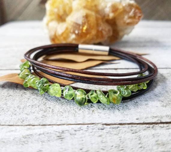 Peridot-Leather-Wrapped-Bracelet