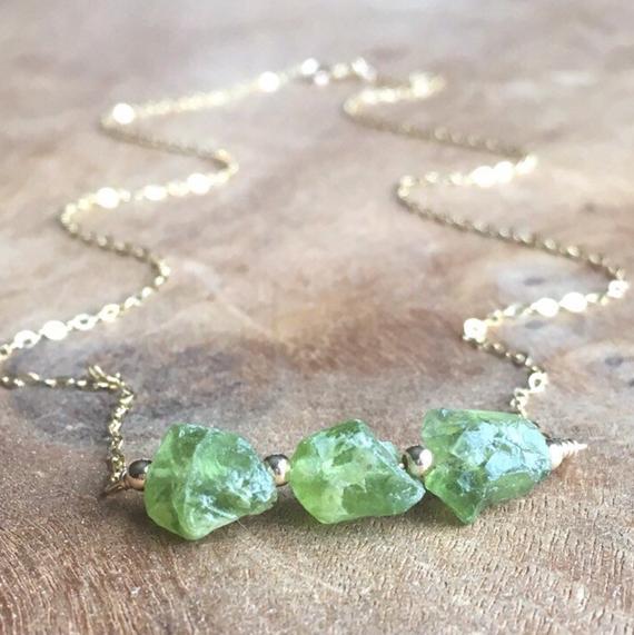 Peridot-Raw-Stone-Bar-Necklace
