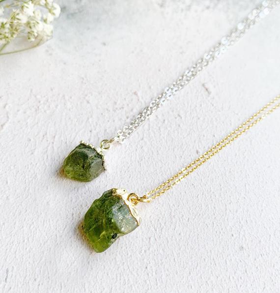 Raw-Peridot-Stone-Necklace