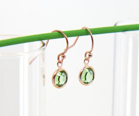 Round-Peridot-Birthstone-Charm-Earrings