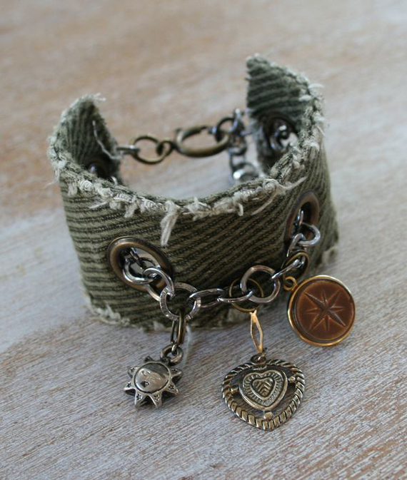 Gunmetal-Chain-Fabric-Cuff-Bracelet