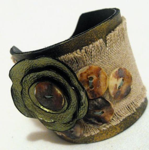 Leather-Burlap-Fabric-Cuff-Bracelet