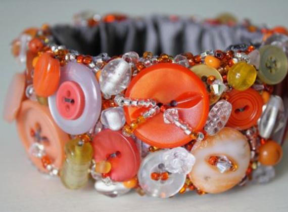 Orange-Ombre-Button-Fabric-Cuff
