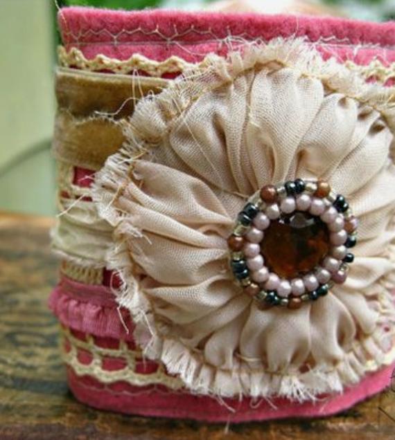 Pink-Flower-Fabric-Cuff-Bracelet