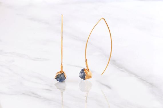 Raw-Sapphire-Birthstone-Dangle-Earrings