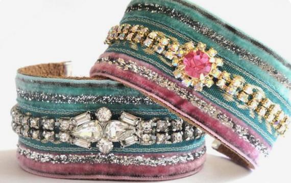 Rhinestone-Wrapped-Fabric-Cuff-Bracelet