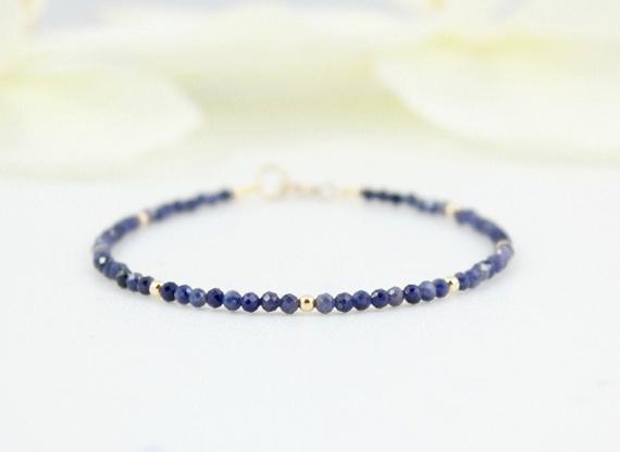 Sapphire-Birthstone-Beaded-Bracelet