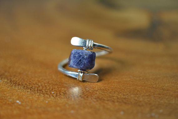 Sapphire-Hammered-Wire-Open-Ring
