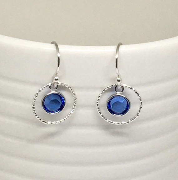 Sapphire-Round-Link-Layered-Earrings