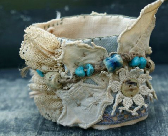 Turquoise-Lace-Fabric-Cuff