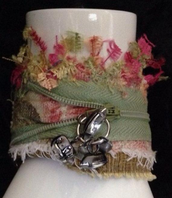 Zipper-Fiber-Fabric-Cuff-Bracelet