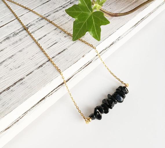 Black-Tourmaline-Birthstone-Bar-Necklace