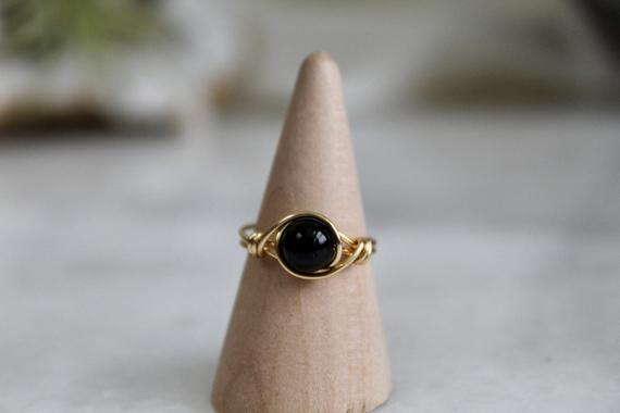 Black-Tourmaline-Birthstone-Wire-Wrapped-Ring