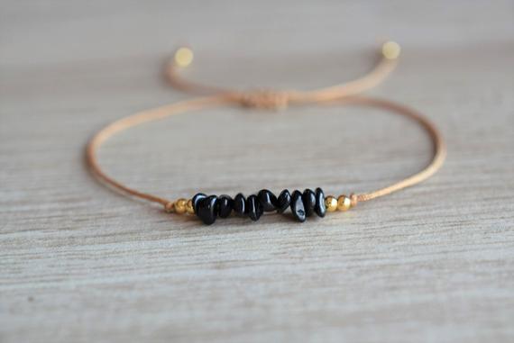 Black-Tourmaline-Chip-Beaded-Adjustable-Bracelet