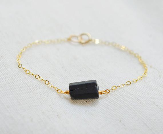 Chained-Black-Tourmaline-Birthstone-Bracelet