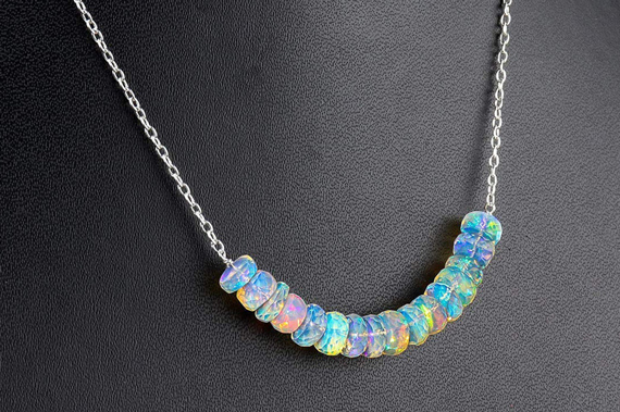 Opal-Birthstone-Rondelle-Strand-Necklace
