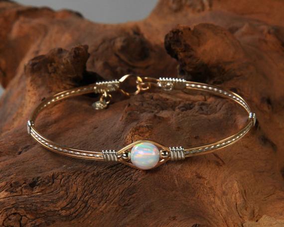 Opal-Flat-Coin-Birthstone-Twisted-Wire-Bracelet