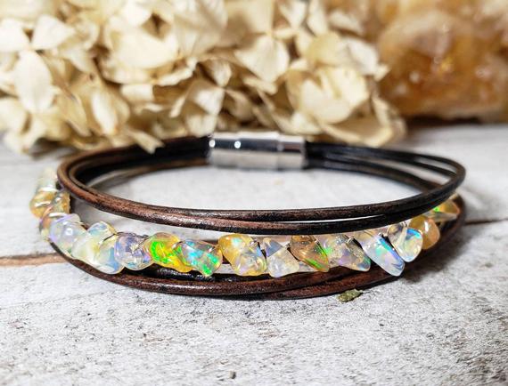 Opal-Leather-Wrapped-Birthstone-Bracelet