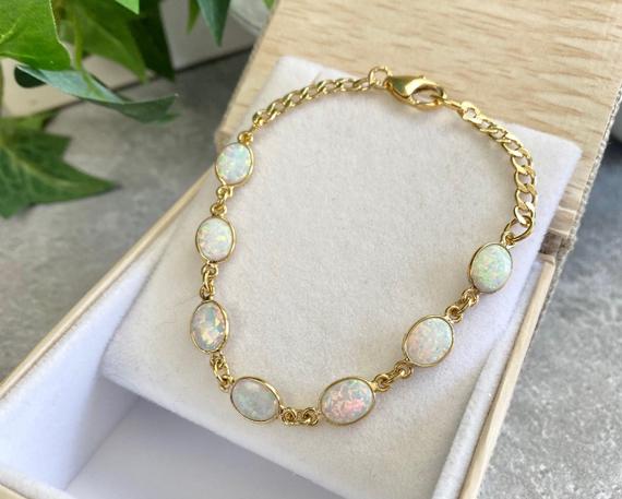 Oval-Opal-Linked-Charms-Birthstone-Bracelet