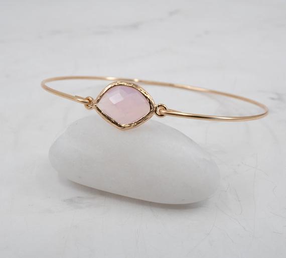 Pink-Opal-Birthstone-Bangle-Bracelet