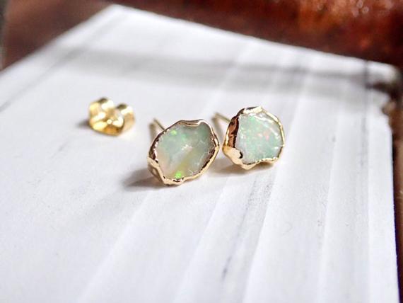Raw-Opal-Birthstone-Stud-Earrings