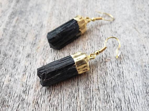 Raw-Tourmaline-Gold-Birthstone-Earrings
