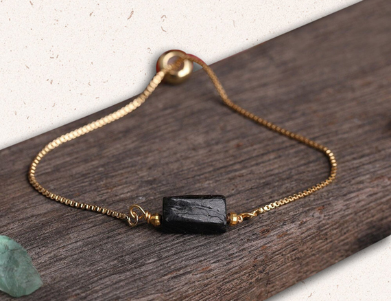 Tourmaline-Gold-Chain-Adjustable-Birthstone-Bracelet
